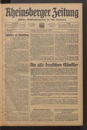 Rheinsberger Zeitung on Jan 15, 1937