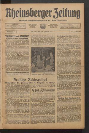 Rheinsberger Zeitung vom 18.01.1937
