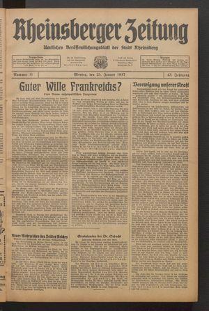 Rheinsberger Zeitung vom 25.01.1937