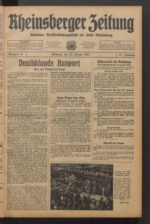 Rheinsberger Zeitung vom 27.01.1937