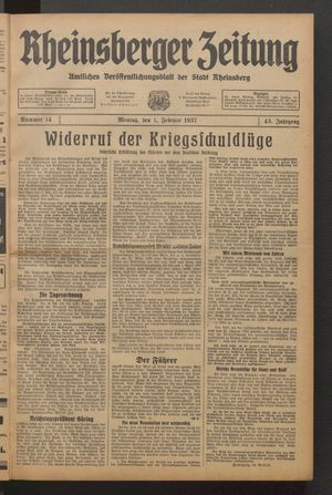 Rheinsberger Zeitung vom 01.02.1937
