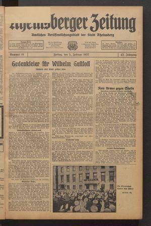 Rheinsberger Zeitung vom 05.02.1937