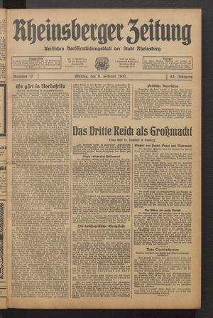 Rheinsberger Zeitung vom 08.02.1937