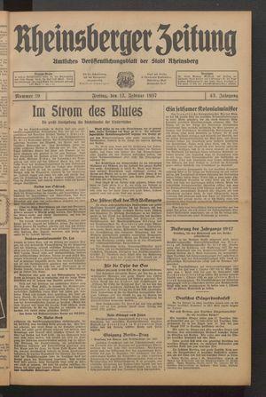 Rheinsberger Zeitung vom 12.02.1937