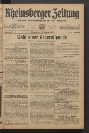 Rheinsberger Zeitung on Feb 17, 1937