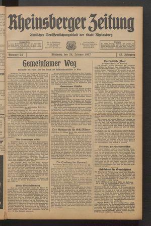 Rheinsberger Zeitung vom 24.02.1937