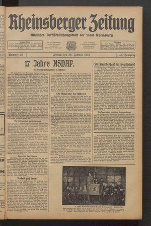 Rheinsberger Zeitung vom 26.02.1937