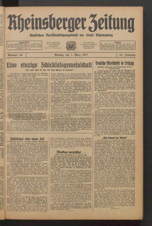 Rheinsberger Zeitung vom 01.03.1937
