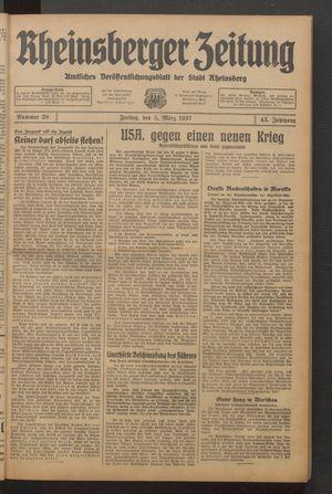 Rheinsberger Zeitung vom 05.03.1937