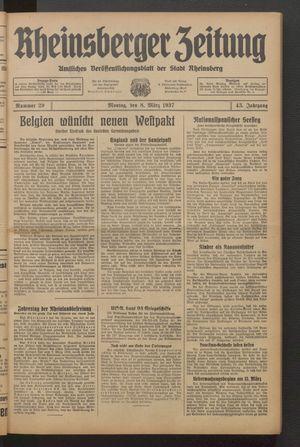 Rheinsberger Zeitung vom 08.03.1937