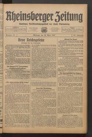 Rheinsberger Zeitung vom 10.03.1937