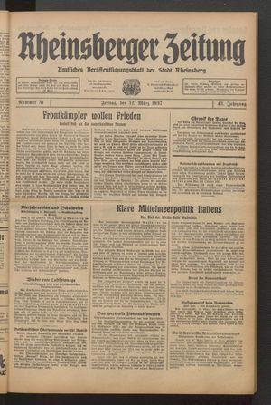 Rheinsberger Zeitung vom 12.03.1937