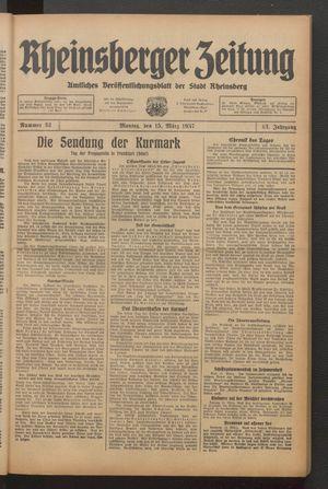 Rheinsberger Zeitung vom 15.03.1937