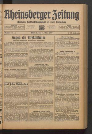 Rheinsberger Zeitung vom 17.03.1937