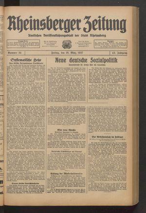 Rheinsberger Zeitung vom 19.03.1937