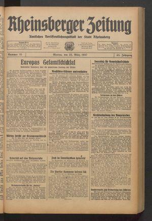 Rheinsberger Zeitung vom 22.03.1937