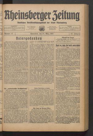 Rheinsberger Zeitung vom 27.03.1937