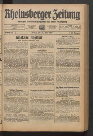 Rheinsberger Zeitung vom 30.03.1937