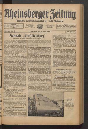 Rheinsberger Zeitung vom 01.04.1937