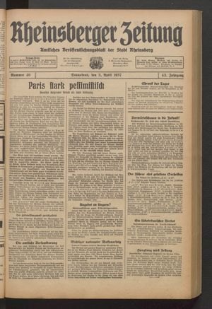 Rheinsberger Zeitung vom 03.04.1937