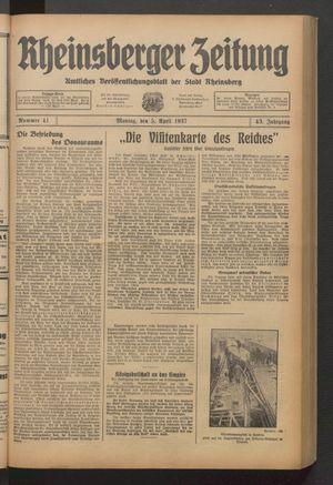 Rheinsberger Zeitung vom 05.04.1937