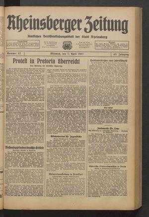 Rheinsberger Zeitung vom 07.04.1937