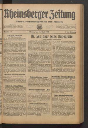 Rheinsberger Zeitung vom 12.04.1937