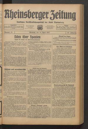 Rheinsberger Zeitung vom 14.04.1937