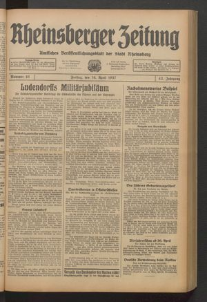 Rheinsberger Zeitung vom 16.04.1937
