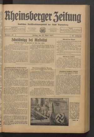 Rheinsberger Zeitung vom 23.04.1937
