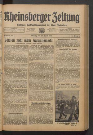Rheinsberger Zeitung on Apr 26, 1937