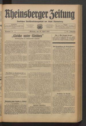 Rheinsberger Zeitung vom 28.04.1937