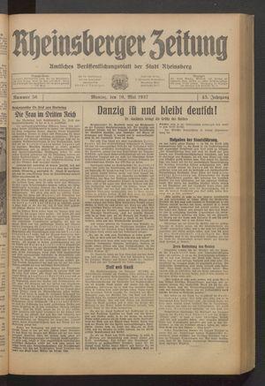 Rheinsberger Zeitung vom 10.05.1937