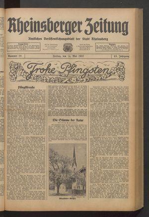 Rheinsberger Zeitung on May 14, 1937