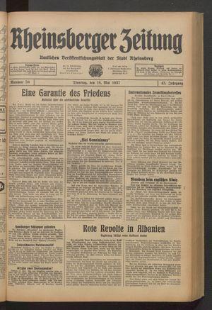 Rheinsberger Zeitung on May 18, 1937