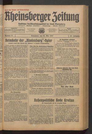 Rheinsberger Zeitung vom 22.05.1937
