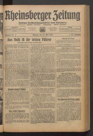 Rheinsberger Zeitung vom 24.05.1937