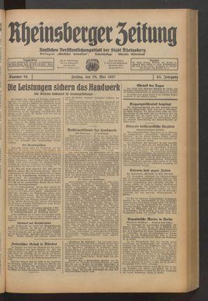 Rheinsberger Zeitung vom 28.05.1937