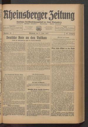 Rheinsberger Zeitung vom 02.06.1937