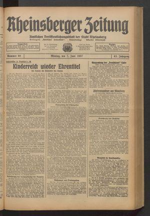 Rheinsberger Zeitung vom 07.06.1937