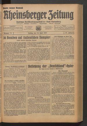 Rheinsberger Zeitung vom 18.06.1937