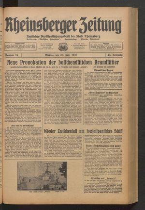 Rheinsberger Zeitung on Jun 21, 1937