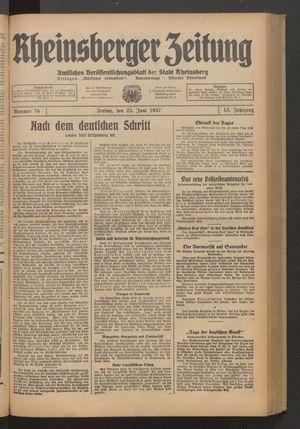 Rheinsberger Zeitung vom 25.06.1937