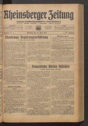 Rheinsberger Zeitung vom 30.06.1937