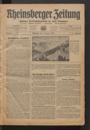 Rheinsberger Zeitung vom 05.01.1938