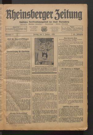 Rheinsberger Zeitung vom 07.01.1938