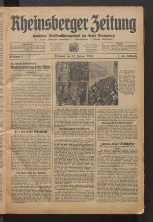 Rheinsberger Zeitung vom 12.01.1938
