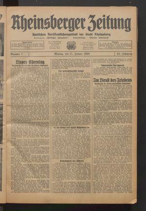 Rheinsberger Zeitung vom 17.01.1938