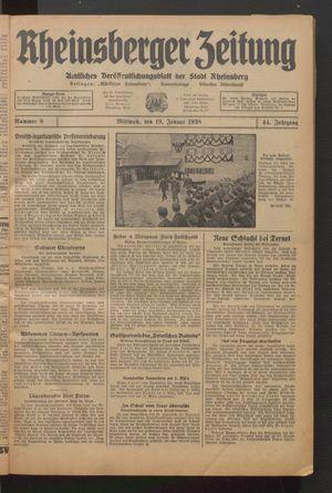 Rheinsberger Zeitung vom 19.01.1938