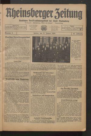Rheinsberger Zeitung vom 21.01.1938